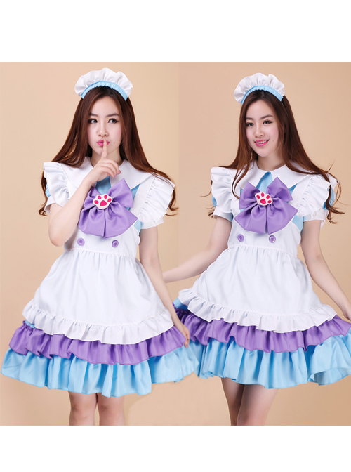 Cute Cat\'s Paw Bowknot Maid Lolita Short Sleeve Dress Set