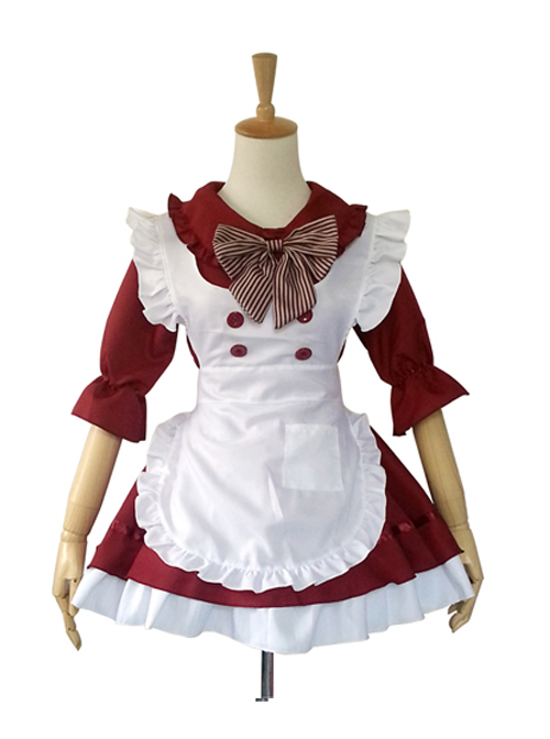 Cute Doll Collar Stripes Bowknot Maid Lolita Half Sleeve Dress Set