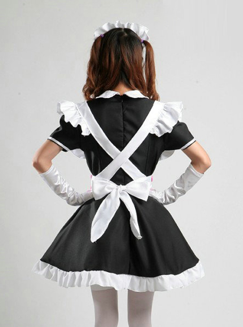 Cute Pink Bowknot Black White Maid Lolita Short Sleeve Dress Five Piece Set