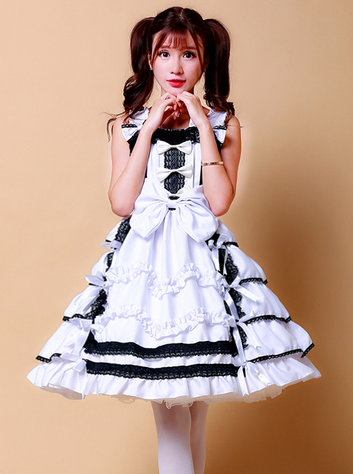 LoveLive Nico Yazawa White Black Cosplay Lolita Sling Dress