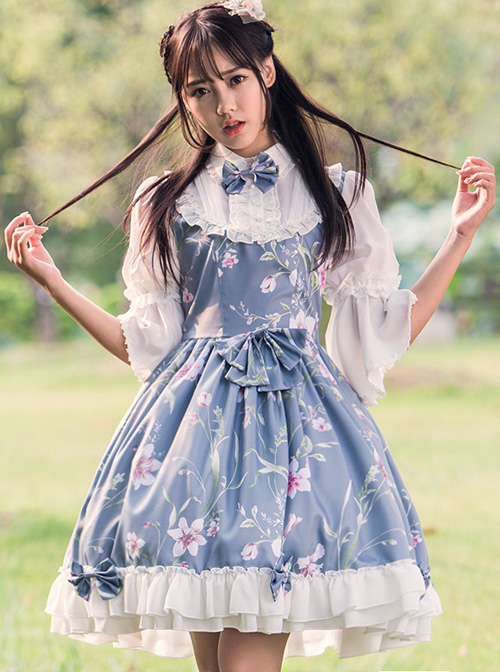 Time Painting Scroll Series Fake Two Pieces Classic Lolita Short Sleeve Dress