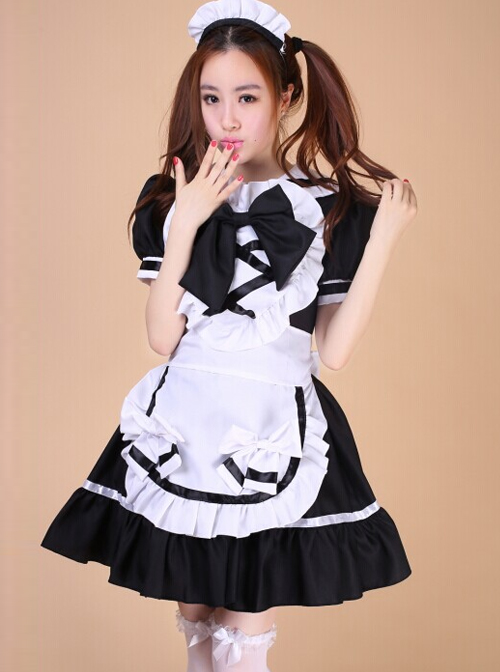 Cafe Uniforms Short Sleeve Maid Lolita Dress Four Pieces Set