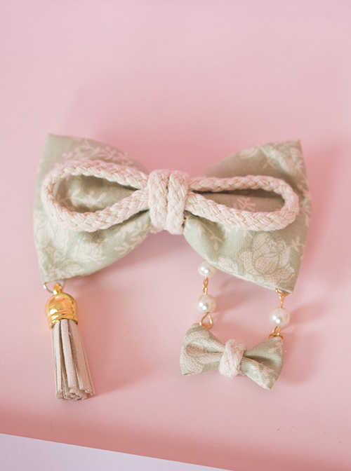 Light Green Bowknot Swing Pendant Japanese Style Lolita Hairpin