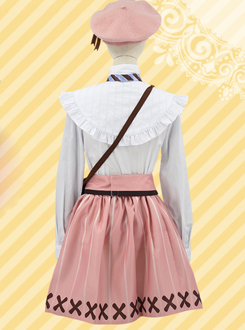 A3 Ruri Kikawa White Shirt Pink Skirt Cosplay Costume Set