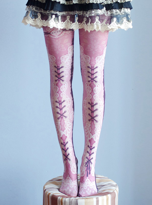 Lovely Lace-up Pattern Printing Lolita Pantyhose