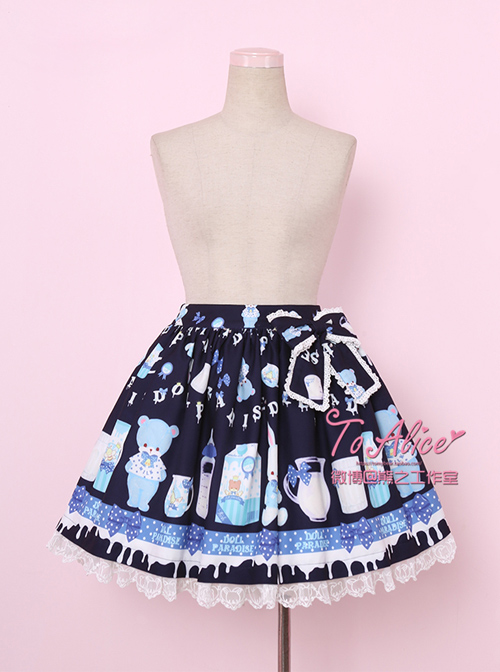 Baby Bottle Bear And Rabbit Series Bowknot Sweet Lolita Skirt