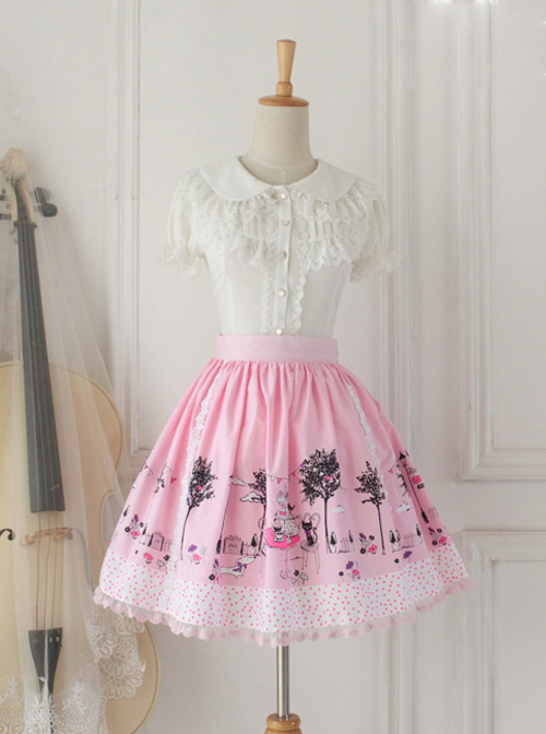 Pussy Afternoon Tea Series Pink Lace Sweet Lolita Skirt