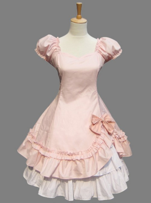 Pink Cotton Short Sleeve Dress With The Cake Skirt