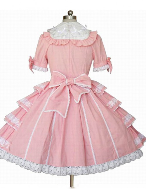 Pink Pure Cotton Bowknot Princess Sweet Lolita Cake Dress