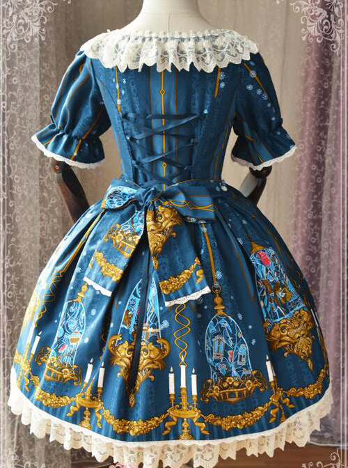 Magic Tea Party Beauty And Beast Series Classic Lolita Short Sleeve Dress