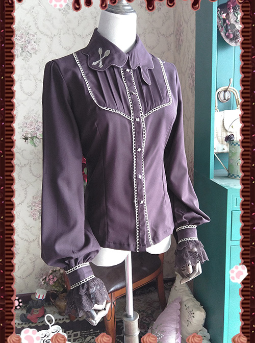 Lolita Chocolate Drip Embroidery High Denim Chiffon Long Sleeve Shirt