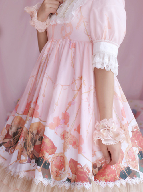 Strawberry Witch Clock Witch Original Lolita Design Printed Dress Short Sleeve OP Full