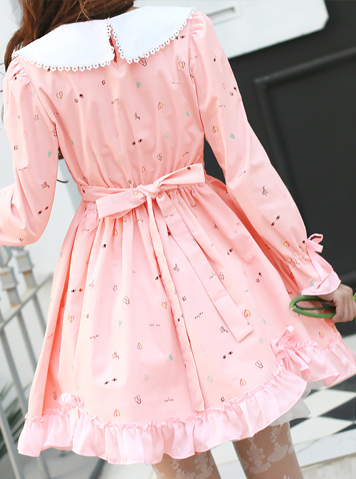 Happy Dress 2018 Spring New Sweet Lace Doll Collar High Waist Section Cotton Corduroy