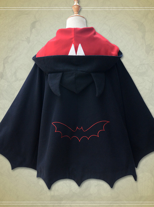Brocade Park Lolita New Devil Ears Bat Cloak Shawl Woolen Coat Female Autumn And Winter Coat