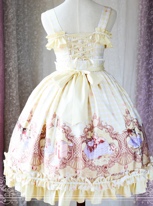 Magic Tea Party Flower And Bird Poetry Series Ruffle Classic Lolita JSK Sling Dress Version 2