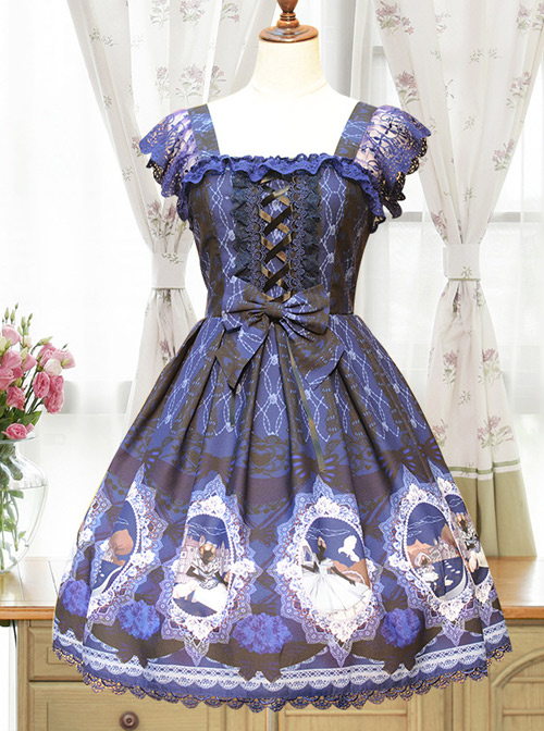 Fairytale Story New Print Alice Lolita Position Harajuku Patchwork Chiffon Fabric JSK Dress