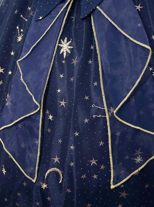 Star And Moon Bronzing Blue High Waist Classic Lolita Starry-sky Sling Dress