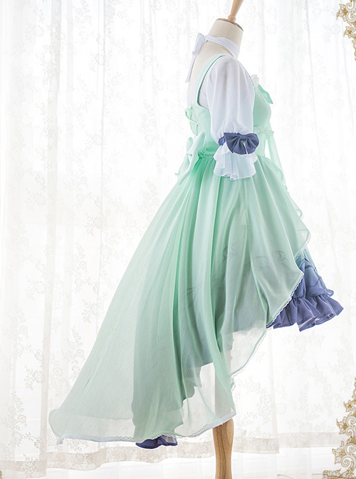 Marine Princess Set Gradient Sweet Lolita Sling Dress And Short Sleeve Lining