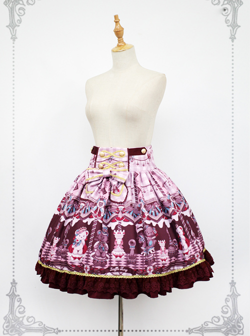 Chocolate Bears Chess Sweet Multicolor Sweet Lolita Skirt
