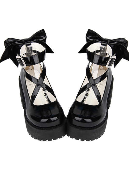 Round-toe Black Patent Leather Bowknot Lolita High Heel Shoes In 8 cm