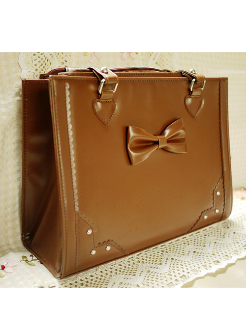 Pure Color Square Sweet Lolita Cute Bowknot Shoulder Bag