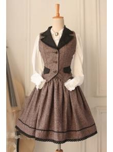 Classic Woolen Vintage School Vest Lolita Skirt Suit