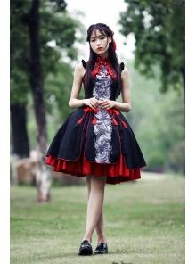 Green Dragon Gorgeous Sleeveless Vintage Chinese Style Lolita Dress