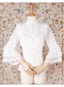 Stand Collar Chiffon Lace Slim Nine Point Sleeve Lolita Blouse
