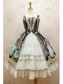 Chiffon Crystal Rabbit Printing Cardigan Lolita Dress