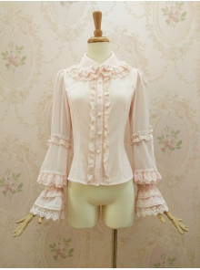Gorgeous Lotus Leaf Edge Lace Doll Collar Lolita Blouse