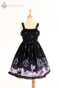 Angel Demon Meow Lolita Harajuku Cute Gradient Black Sweet Cat Sling Dress