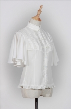Fragrance Sparse Standing Collar Butterfly Sleeve Shirt White
