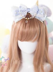 White Cat Ears Pearl Lace Bowknot Bead Chain Head Band Sweet Lolita