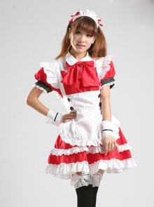 Cute Red White Maid Short Sleeve Dress Five Piece Set
