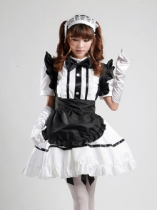 White Short Sleeve Maid Dress With Black A