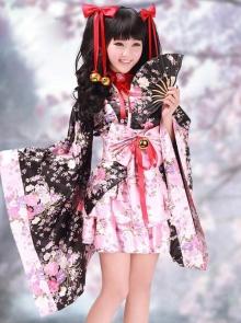 2826be062bfb Black And Pink Cherry Blossoms Kimono Cosplay Lolita Dress