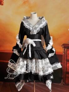 Black And White Lace Kimono Lolita Cosplay Costume