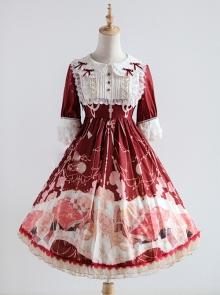 Strawberry Witch Clock Witch Original Lolita Design Printed Dress Short Sleeve OP Full