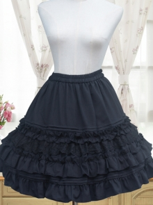 Black Or White Chiffon Ruffle Lace Lolita Petticoat