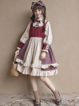 Christmas Strawberry Berry OP Classic Lolita Red And Apricot Long Sleeve Dress