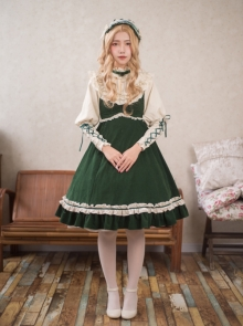 High Waist Dark Green Lace-up Classic Lolita Sling Dress