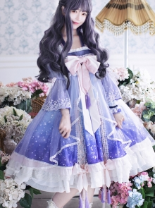 Light Purple Gradient Cute Chinese Style Qi Lolita Long Sleeve Dress