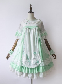 Chinese Style Embroidery Camellia High Waist Qi Lolita Dress
