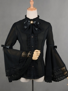 Trumpet Sleeve Bowknot Little High Collar Chiffon Lace Classic Lolita Long Sleeve Shirt