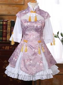 Pink Or Blue High Collar Improved Cheongsam Chinese Style Qi Lolita Half Sleeve Dress