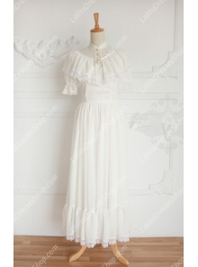 Vintage Palace White Lace Long Doll Collar Short Sleeves Fashion