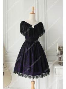 Vintage Lace Princess Dark Purple V-neck Short Sleeves Palace Fashion