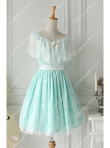 Vintage Lace Princess Green V-neck Short Sleeves Palace Fashion