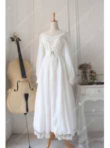 Downton Abbey Vintage White Lace cardigan Front Gothic Lolita Long Dress