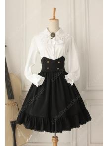 Vintage Ruffles Gothic Empire Fishbone Lolita Overskirt